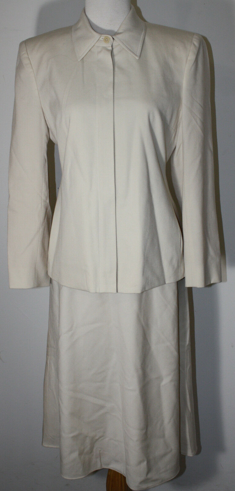RALPH LAUREN LRL Off White Ivory Worsted Wool Skirt Suit 4 6 8