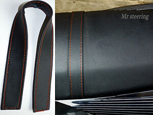 SEAT STRAP COVER FOR MOTORCYCLE BLACK QUALITY ITALIAN LEATHER ORANGE STITCH