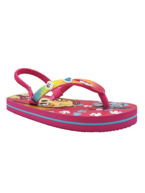 e38bf7d749a6b Paw Patrol Girls Toddler Flip Flop Shoes W Back Strap Size Medium 7-8 NEW