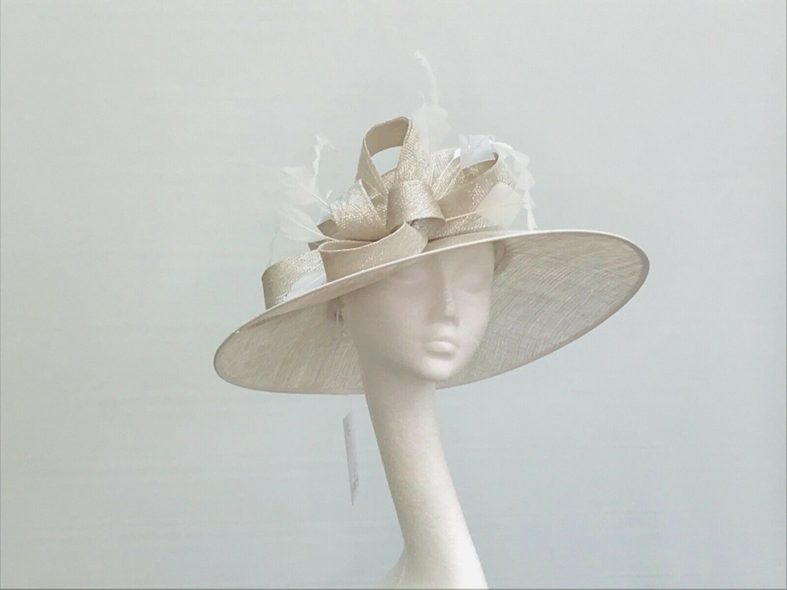 Ivory / Oyster Silver Lurex Wedding Occasion Races Hat - JB163