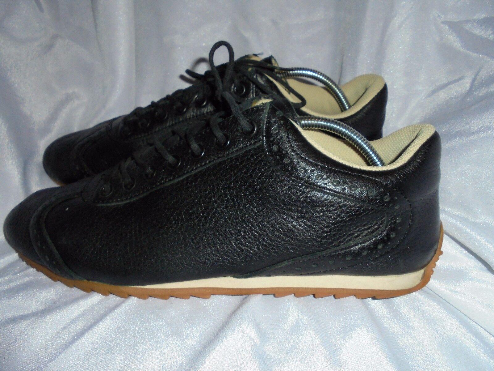 FCUK para mujer Negro Cuero Con Cordones Zapatillas Size nos 11 en muy buena condición