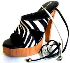 Zebra Leopard Faux Fur Strap Lace-Up High Heels Wood Platforms Black White 6