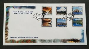 1996-New-Zealand-Mountain-Lake-Scenery-Self-Adhesive-Definitive-6v-Stamps-FDC