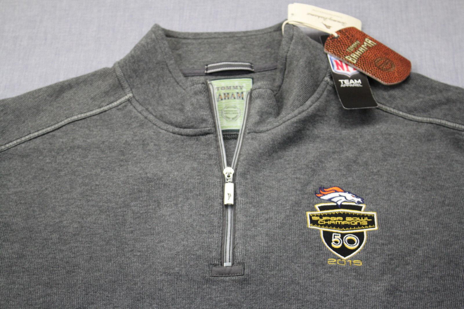 Tommy Bahama NFL Denver Broncos Super Bowl grau 1/4 Zip Sweatshirt NWT 2XL 158