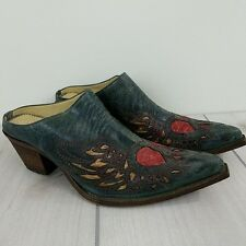 Corral Leather Slides Mule Shoes Wings and Heart Western Boot Look Size 6 M