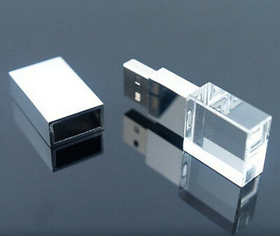 Custom 3D Logo Exclusive Crystal Glass USB Flash Drive 2.0 Memory Stick Pendrive