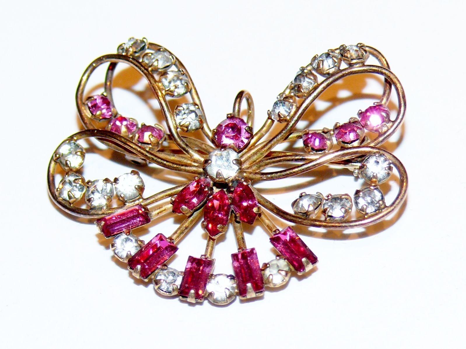Vintage HARPER Signed 1 20 12K gold Filled Butterfly Bow Pink Rhinestone Brooch