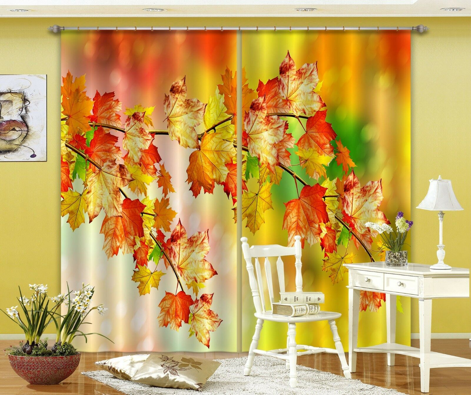 3D Maple Leaf 7 Blockout Photo Curtain Printing Curtains Drapes Fabric Window CA