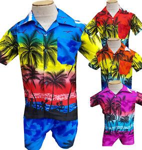 Hawaiian-Shirt-Suits-Shorts-Party-Boys-Girls-Kids-Children-palm-tree-Fancy-dress