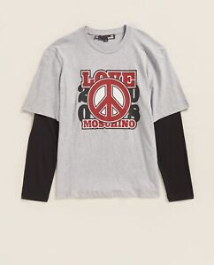 Love Moschino Men's Layered Sleeve Cotton Tee With Print NWT