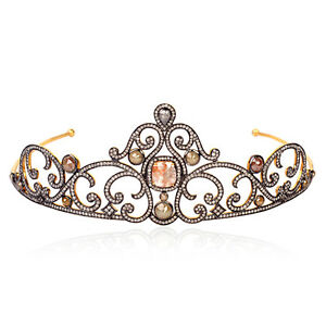 Natural-Ice-Diamond-Pave-18k-Gold-Sterling-Silver-Designer-Tiara-Women-039-s-Jewelry