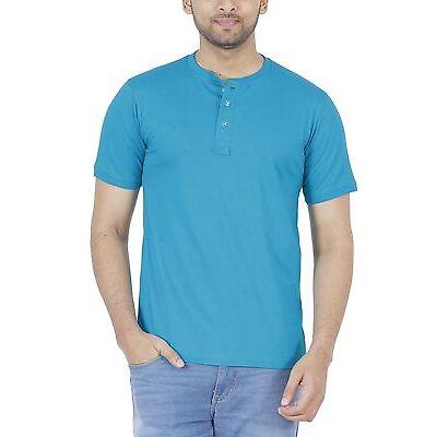 Fleximaa Men's Cotton Henley Neck T-Shirt Reliance Green Color. (hreliancegreen)