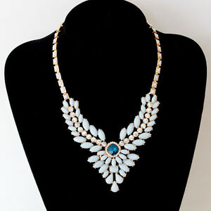 Gold-Tone-Blue-Gem-Clear-Crystal-Choker-Chunky-Statement-Bib-Collar-Necklace