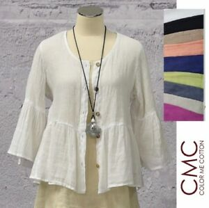 CMC by CLICK USA  8679  Linen Mesh  CRISS CROSS LAYER TOP  S-XXL  2018 SPRING