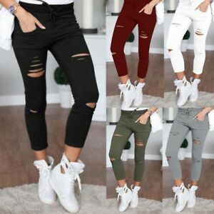 Women-039-s-Plain-Skinny-Ripped-Hole-Jeans-High-Waist-Stretch-Ninth-Pencil-Trousers