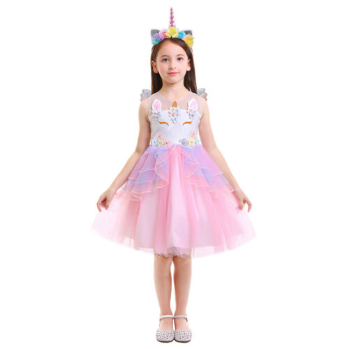 Flower Girl Unicorn Dress Tutu Princess Cosplay Party Costume Outfit Set for Kid