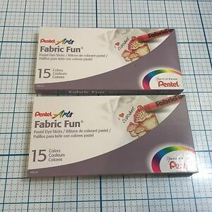 NIB Lot of 2 Pkgs PENTEL ARTS Fabric Fun Pastel Dye Sticks - 15 Colors - Art