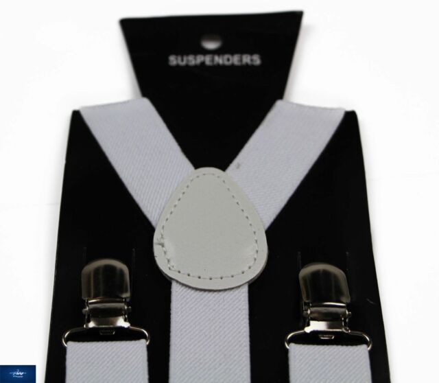 WHITE SUSPENDERS MEN'S BRACES BELT ELASTIC ADJUSTABLE WEDDING 85cms UNISEX MENS