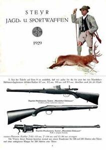 Details about Steyr-Mannlicher Schoenauer Repeating Sporting Rifles 1929  (in German-Catalog)