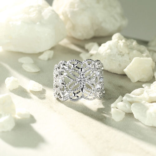 Filigree Butterfly with Flush Prong Set CZ Accented Non-Piercing Ear Cuff A178