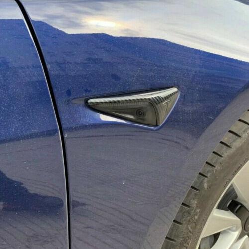 for Tesla Model 3 X S Marker Camera Carbon Fiber Turn Signal Door Fender Trim x2