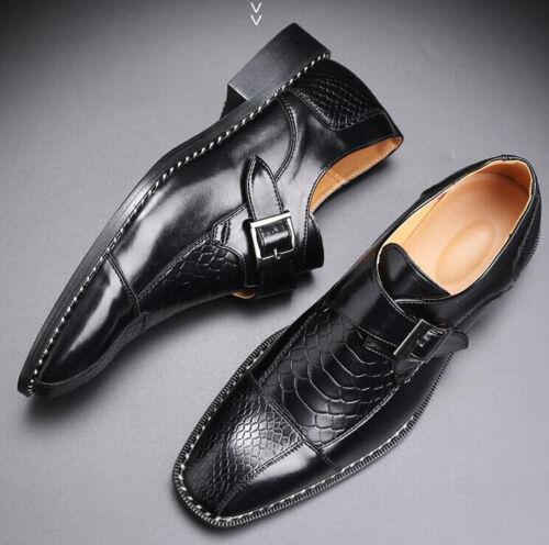 British Men Smart Dress Formal Wedding Shoes Buckle Pointy Toe Oxfords Slip-On