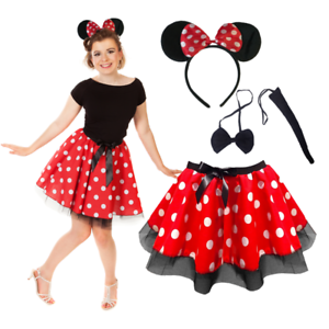 Ladies-MINNIE-MOUSE-Style-Costume-Fancy-Dress-12-034-length-SKIRT-AND-EAR-SET