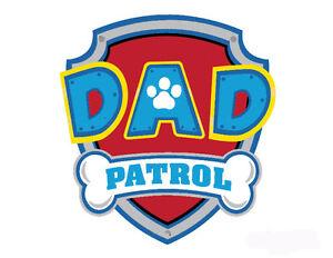 dad patrol paw patrol badge logo iron on tshirt fabric transfer 38 ebay. Black Bedroom Furniture Sets. Home Design Ideas
