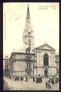 Carte-Postale-Ancienne-FRANCE-35-SAINT-MALO-en-1904-La-CATHEDRALE-Animes