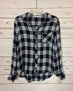 Le-Lis-Stitch-Fix-Women-039-s-M-Medium-Navy-White-Plaid-Button-Long-Top-Blouse-Shirt