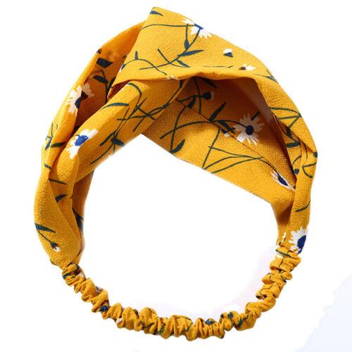 Womens Floral Twist Knot Headband Elastic Head Wrap Stretch Turban Hair Bands