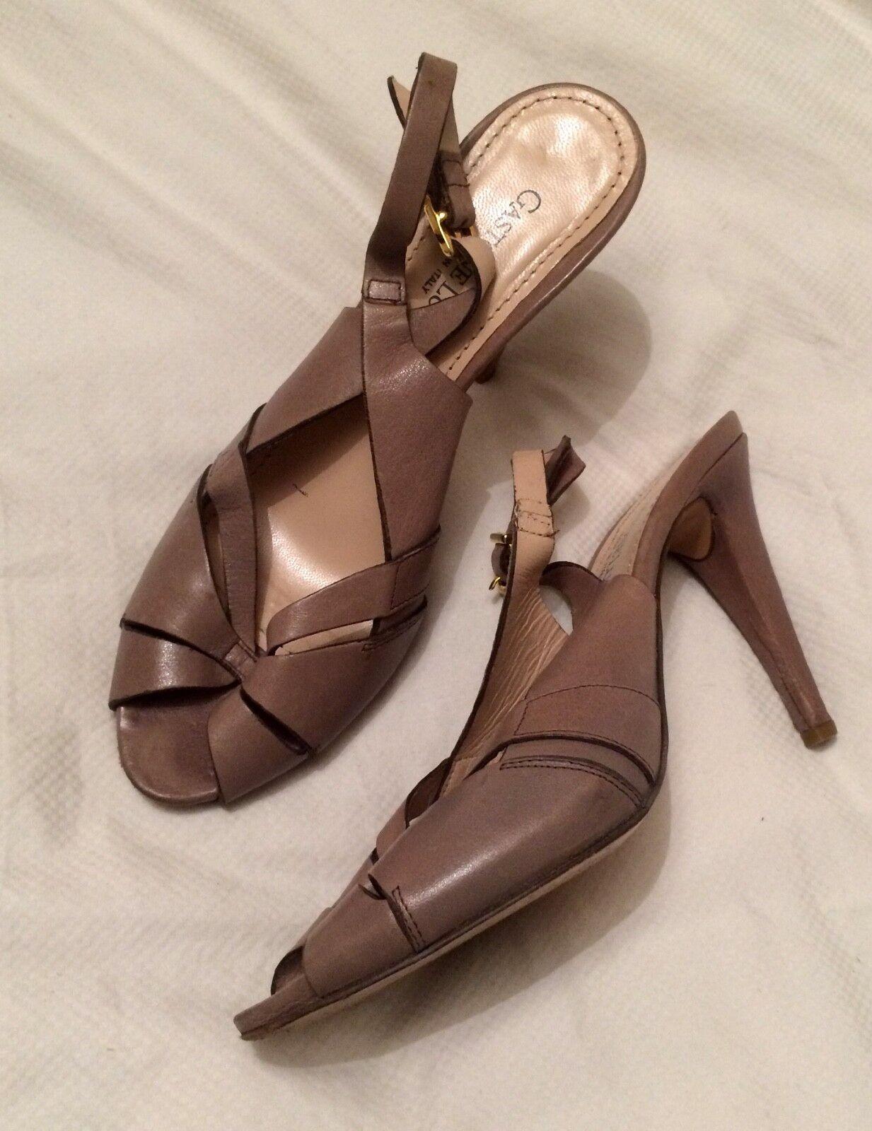 GASTONE LUCIOLI Nude Leather Open Toe Strap Mid-Heel Sandals -size eu 39   uk 6