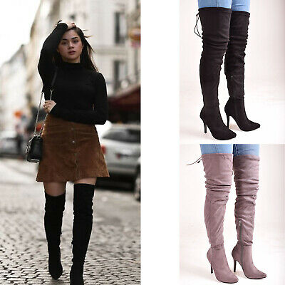 Ladies Womens Block High Heel Over The Knee Thigh High Lace Up Casual Boots Shoe