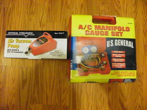 AC A//C Manifold Gauge Set R134A /& VACUUM PUMP R134 NEW