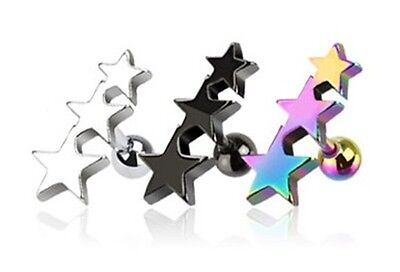 New Surgical Steel Anodised Titanium Star Tragus Cartilage Helix Ear Stud