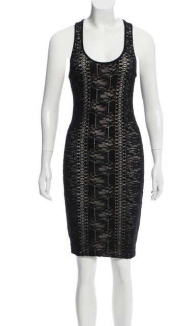 Rare! AUTH Givenchy Black Lace Bodycon Dress - Size Small