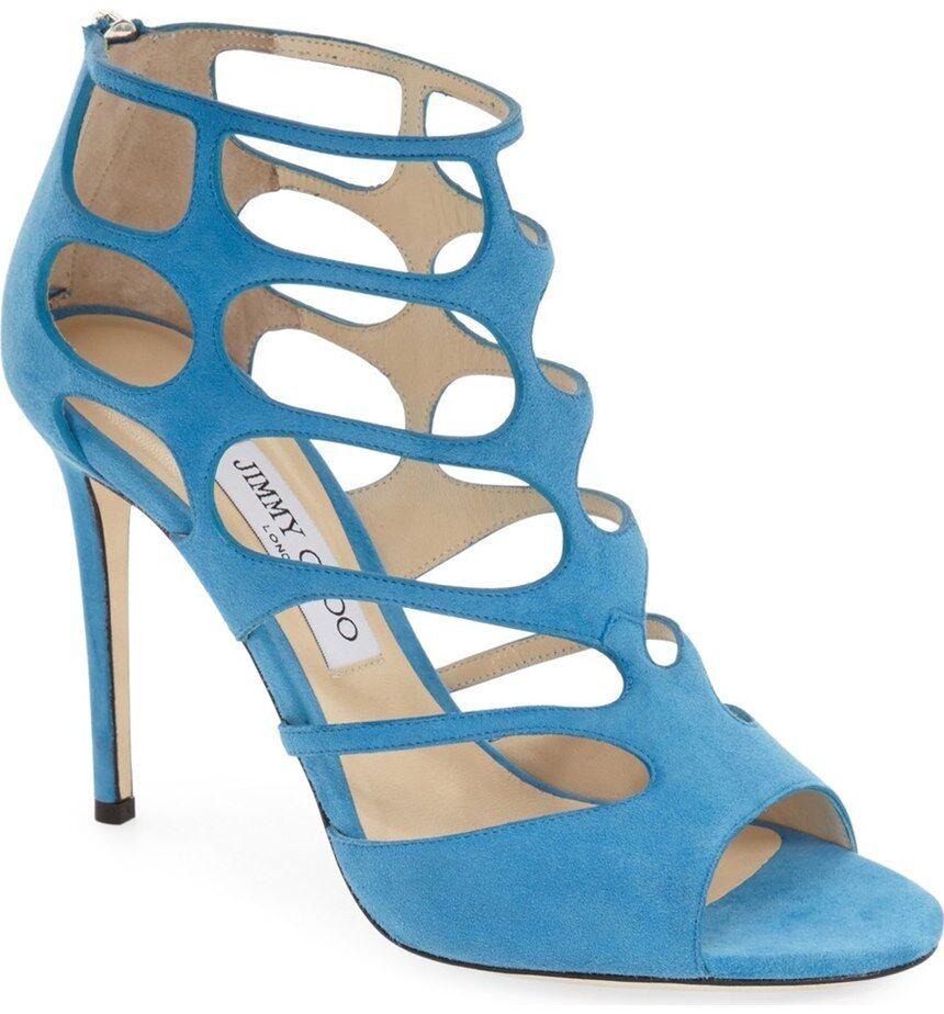 Jimmy Choo Cutout Sandal Gladiator bluee Suede Ren Booties Pump Heels shoes 39.5
