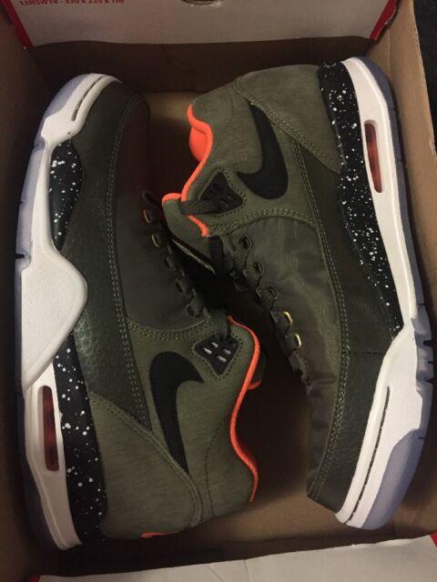 9038652b8ed6 Nike Flight Squad PRM QS Sz9 Olive Black Orange BomberJacket Sneakers  679249-200