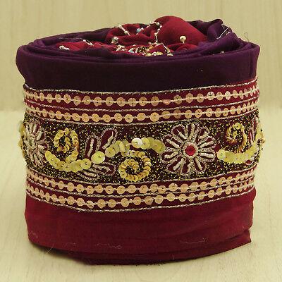 Vintage saree Border Indian Embroidered Maroon Used Sari Used Fabric 1YD Lace