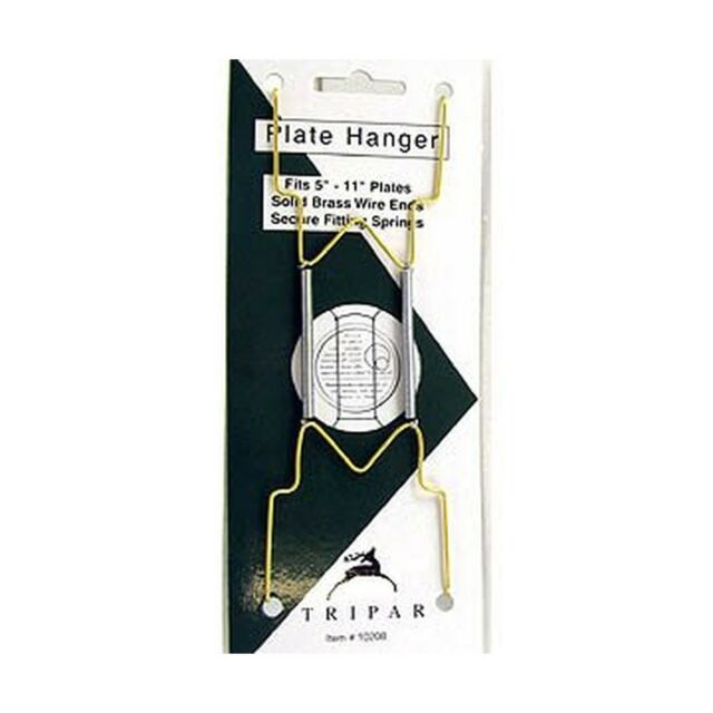 Brass  Bent Curves  Plate Hanger to 10 in Tripar  7 in