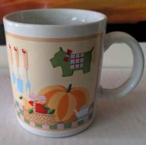Coffee Mug Pumpkin Scottie Dog Fruit In A Basket made in Japan
