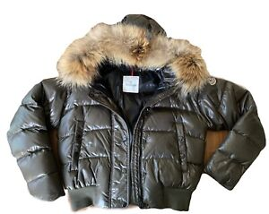 Details about Moncler Womens Down Jacket w Fur Hoodie Olive Army Green Women Size 3