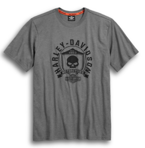 HARLEY-DAVIDSON SKULL SHIELD GREY T-SHIRT 99032-17VM XXL