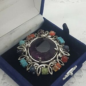 VINTAGE-Scottish-Celtic-Style-Brooch-Round-Purple-Glass-Stone-Faux-Agate-SPHINX