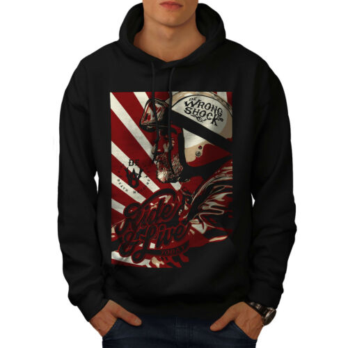 Wellcoda Casual Mens Black Hoodie Ride Sweatshirt New Hooded IwHrI