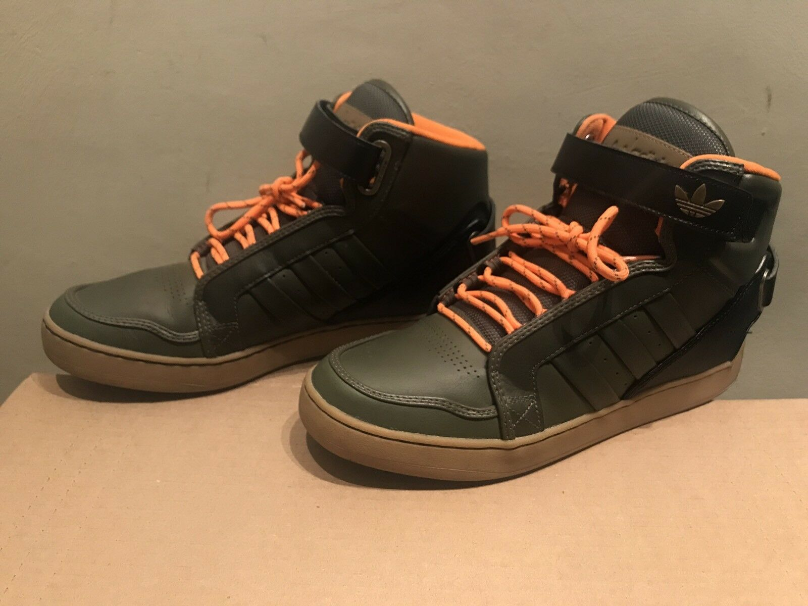 RARE 2012 Adidas High top Olive/Black & Orange SZ 9.5 Sneakers Men's Shoes