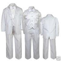 Boy Baptism Communion Wedding Formal Paisley White Tuxedo Suit Size 5-20