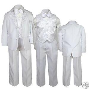 641a48e9b49b New Boy Baptism Communion Wedding Formal Paisley White Tuxedo Suit ...