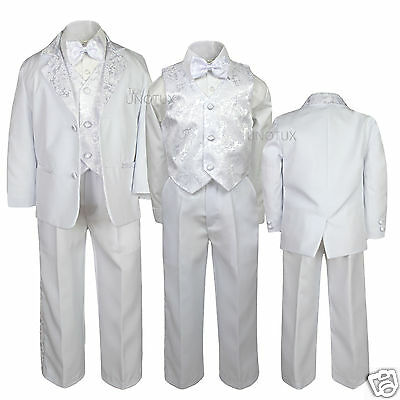 New Boy Baptism Communion Wedding Formal Paisley White Tuxedo Suit Size 5-20 Discounts Price