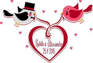 Autoaufkleber Hochzeit | Liebe | Vögel | Herz | Brautpaar | Personalisiert